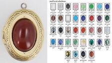 Medium oval locket, gemstone & glass cabochons, with slide chain options