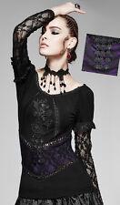 Top haut gothique lolita burlesque baroque dentelle broderie violet Punkrave