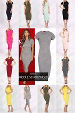 New Ladies Cap Sleeve Body con Midi Dress Plain Stretch Top Sizes 8-14