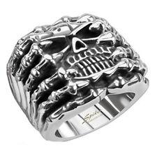 316L Stainless Steel Men's Skull with Skeleton Hands Ring Size 9-15