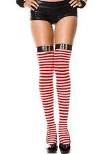 Xmas Stockings Belt Top Red White Black  Stripey Fishnet Fence Net Pom Pom Fur