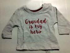 Baby Boys or Girls Grey Long Sleeve T Shirt with Grandad is my Hero Detail