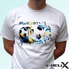 Sweden football - white t shirt top soccer flag - mens womens kids baby sizes