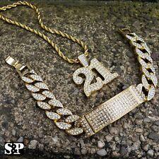 HIP HOP SAVAGE 21 LAB DIAMOND BLING NECKLACE & ICED MIAMI CUBAN BRACELET SET