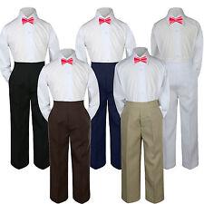 3pc Boy Suit Set Coral Bow Tie Baby Toddler Kids Uniform Shirt Pants S-7