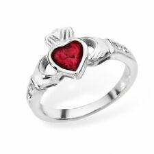 Irish Claddagh Ring Sterling Silver Garnet Celtic Friendship Love 925 hallmarked