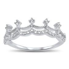 White CZ Crown Princess Tiara Wedding Ring .925 Sterling Silver Sizes 4-10 NEW