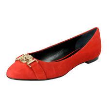 Versace Women's True Red Suede Leather Medusa Ballet Flats Shoes Sz 6 9 10