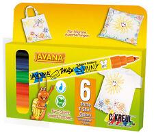 JAVANA Texi Mäx SUNNY 6-er Set Stoffmalstifte Textilstifte für helle Stoffe