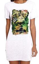 Lion of Judah Zion Reggae Large Print Womens T-Shirt Dress - Rasta Bob Marley