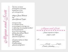 100 Custom Personalized Names Bridal Wedding Invitations Set