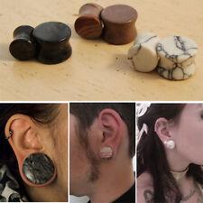 3 Pairs 6PC Set Gemstone Stone Ear Plugs Howlite, Picasso Jasper, Mudline 4G-5/8