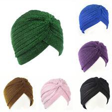 Women Sequin Glitter Indian Turban Muslim Hijab Hats Fall Winter Cap Hat
