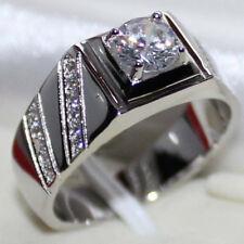 Round VVS1 Diamond Engagement Ring Mens Wedding Pinky Band 14K White Gold Finish