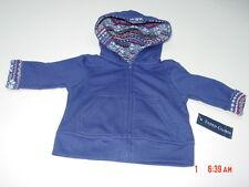NWT Infant Boys Zippered Hooded Fleece Sweatshirt Dark Blue Warm Child Top