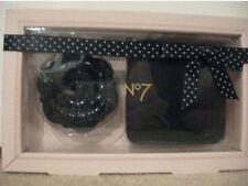 NEW BOOTS No7 COMPACT MIRROR WITH POUCH - PRETTY ROSE DESIGN - BLACK BNIB