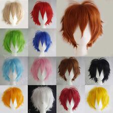 MULTICOLOR Cosplay Short Wig Women Men Anime Straight Full Wigs Blue White Red #