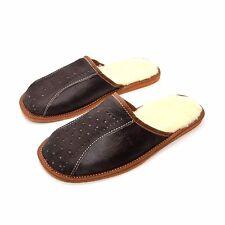 Mens Sheepskin Slippers Mule Shoes Warm Leather Wool Size 6 7 8 9 10 11 12 / W16