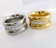 Damen Ring Edelstahl Gold oder Weißgold pl breiter Bandring halb Memory Zirkonia