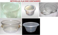 SATCO 2oz,4oz, 8oz,12oz,16oz,Round Clear Plastic Satco Microwaveable Containers