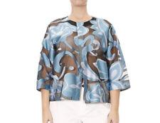 MARINA RINALDI Women's Blue Multi Felicita Cropped Jacket $865 NWT