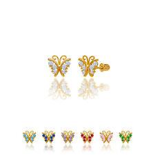 14kt Solid Gold Kids Butterfly Screwback Stud Earrings
