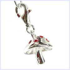 Sterling Silver Red Mushroom Dangle Clip On Bug Bead for European Charm Bracelet