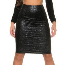 Leather Look Pencil Skirt Snake Leo Print With Full Back Zip KouCla - Black