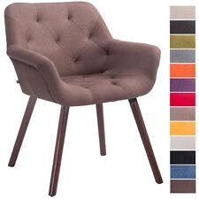 Chaise visiteur CASSIDY en tissu pieds en bois de hêtre noix design scandinave