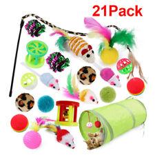 New Bulk Buy Cat Kitten Toys Rod Fur Mice Bells Balls Catnip 21 items UK STOCK