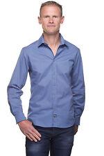 Ugholin - Chemise Homme Unie Slim Fit Coton Bleu Indigo Manches Longues