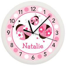 PINK LADYBUG WALL CLOCK NURSERY DECOR CHILDREN'S PERSONALIZED LADY BUG PINK BABY