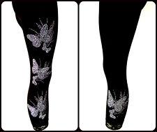 Plus Capri Leggings Embellished Crystal Rhinestone & Silver Stud Butterflies