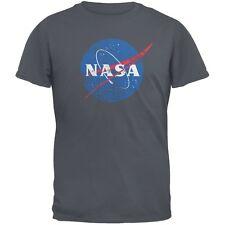 NASA Distressed Logo Charcoal Grey Adult T-Shirt