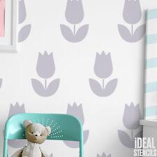 Girls Nursery Decor Stencils Tulip Flower Paint Walls Fabrics Furniture Stencils