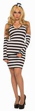 Lock Her Up Prisoner Inmate Covict Adult Womens Costume Dress NEW Black White