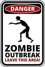 FUNNY Cartello Di Avvertimento Pericolo Zombie Outbreak Autoadesivo Autoadesivo