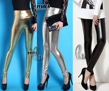 AU SELLER SZ 8-14 High Waist Metallic Shiny Dance Rockabilly Pants Leggings P110