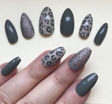 Hand Painted False Nails STILETTO (Or ANY SHAPE) Grey / Stone Leopard Print UK