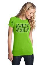 LOVE SNOW TEE SHIRT TOP WOMEN GIRL SLED SNOWMOBILE SNOCROSS ARCTIC CAT LIME RACE