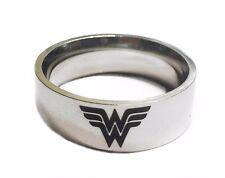 Wonder Woman Logo Silvertone Metal Band Ring - Multiple Sizes Available