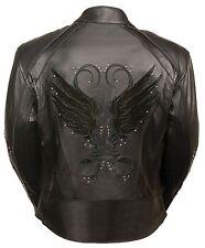Ladies Black Inlay Angel Wings Black Leather Motorcycle Jacket w/ Rivet Detail