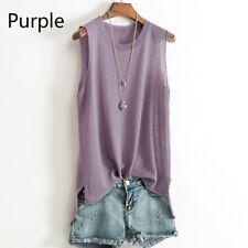 Women Knitting Vest Tank Top Summer Sleeveless Scoop Neck Solid Color Shirt