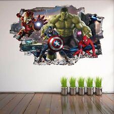 Avengers Superhero Wall Art Stickers Mural Decal Hulk Spiderman Iron Man EA62
