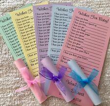 Baby Shower deseos para Bebé Tarjeta pergaminos juego favorece Personalizado