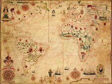 Mp63 vintage 1633 historique carte nautique carte du monde Poster A1 / A2 / A3