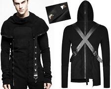 Pull sweat gothique punk steampunk harnais capuche dos zippé clou Punkrave homme