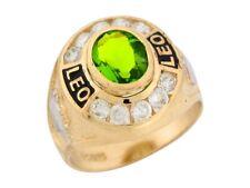 10k or 14k Gold Simulated Peridot CZ August Birthstone Enamel Leo Zodiac Ring