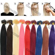 "18"" Pre Bonded Keratin Glue Nail/U Tip Remy Real Human Hair Extensions 0.5g 100s"