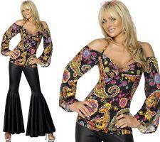 Mujer Hippy Disfraz años 60 1960s AÑOS 60 hippy mujer Disfraz Nuevo De SMIFFYS